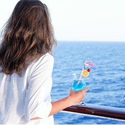 Woman In The Cruise-Looking At The Sea